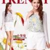 韩版女装2014新款秋装 宽松印花雪纺衫 提花圆领长袖上衣