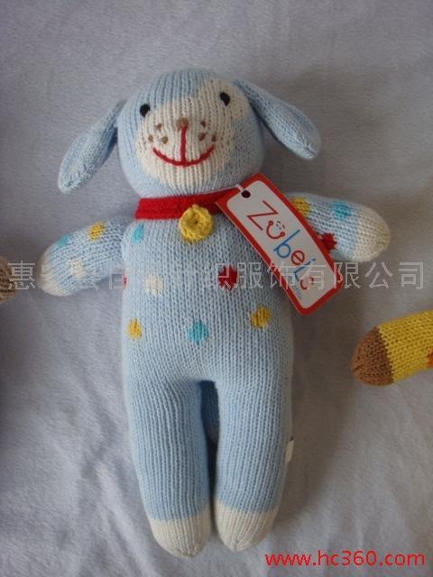供应纯手工编织可爱毛绒狗仔系列玩具