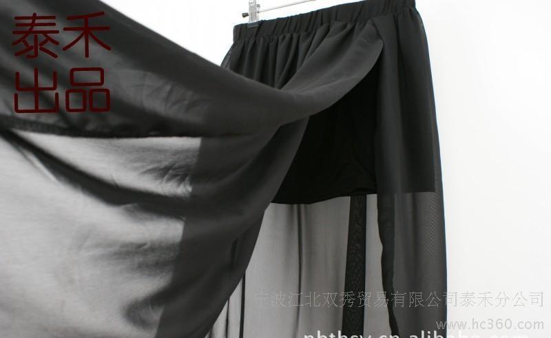 供应泰禾外贸原单裙欧美半身裙开叉透视雪纺裙雪纺半身裙服装服饰时尚