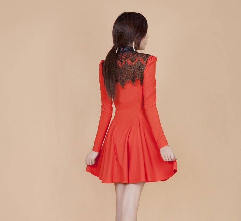 13452013新款欧美外贸服装 长袖蕾丝连衣裙性感女装一件代发