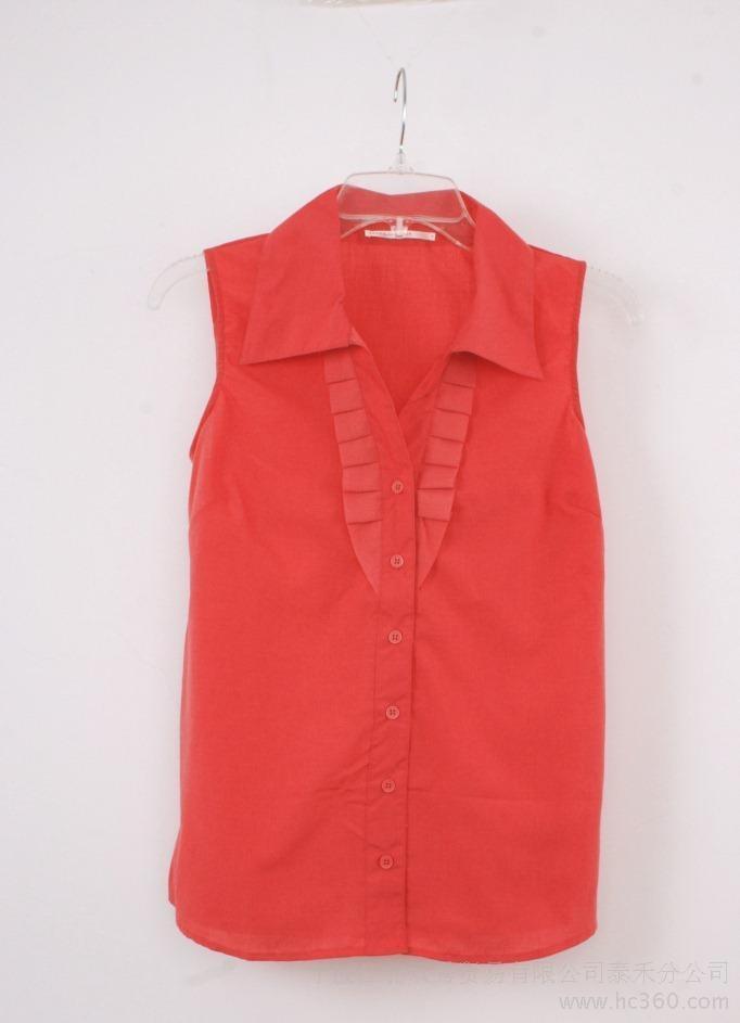 供应泰禾外贸原单大红色衬衫短袖衬衫欧美衬衫原单衬衫女淑女短袖服装