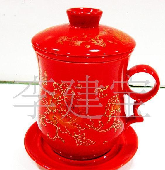 供应盈顺陶瓷YS-122906新奇特 红牡丹新奇特茶杯 新奇特