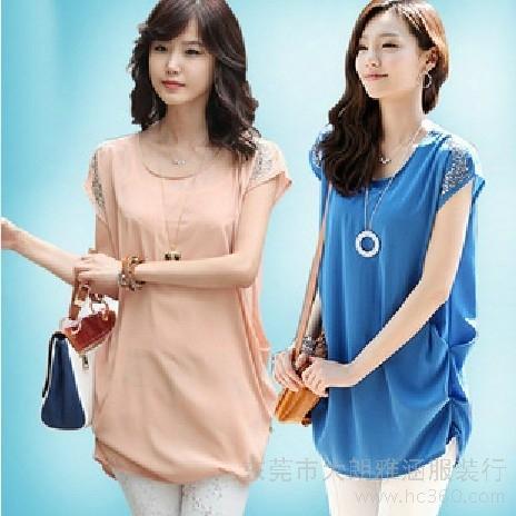 供应精品时尚短袖雪纺衬衫衬衣 个性 下摆 粉色 蓝色 女装 设计 亮片